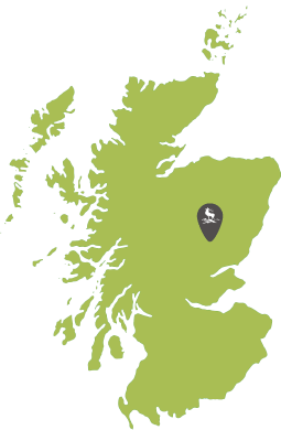 Map of Scotland showing Dalmunzie Estate location