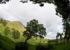 Fish eye lens photograph of Dalmunzie landscape