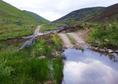 Former railway track climbs up to Glas Tulaichean at 1051 m