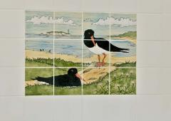 Detail of the wild bird painted tiles in a bathroom at Dalmunzie house